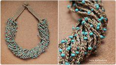 Bluecrocheted necklace | Flickr: Intercambio de fotos