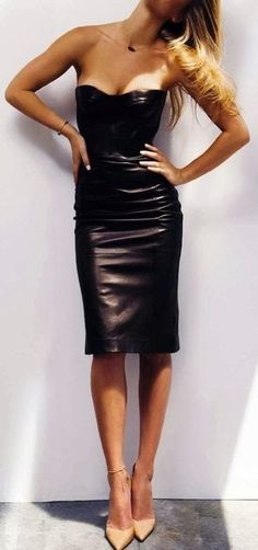 Black Leather Pencil Style dress