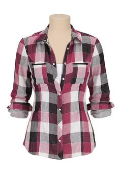 Buy Long Sleeve Plaid Button Down Shirt with Lurex - Overview allover plaid pattern. lurex throughout adds shimmer. Striped fabric lining. Cool Outfits, Fashion Outfits, Womens Fashion, Purple Plaid Shirt, Red Plaid, Cute Shirts, Flannel Shirts, Flannels, Look Cool