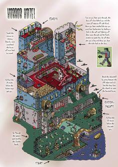 isometric level design by on DeviantArt Game Level Design, Game Design, City Photo, Horror, Concept, Illustration, Maps, Composition, Sketch