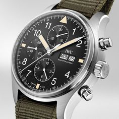 Introducing: IWC Pilot's Watch Chronograph (Online Boutique Edition) Dream Watches, Cool Watches, Iwc Chronograph, Iwc Watches, Junghans, Watches Photography, Girl Photography, Nato Strap, Men Watches