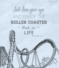 """Just close your eyes and enjoy the roller coaster that is life."" — Zayn Malik #quote"