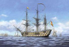 Carlos Parrilla Penagos - Pintura naval Ship Of The Line, Port Royal, Naval History, Sailing Ships, Sailing Boat, Wooden Ship, Nautical Art, Navy Ships, Ship Art