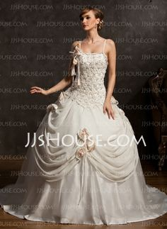 Ball-Gown Chapel Train Chiffon Satin Tulle Wedding Dress With Lace Beadwork Flower(s) (002015173) http://jjshouse.com/Ball-Gown-Chapel-Train-Chiffon-Satin-Tulle-Wedding-Dress-With-Lace-Beadwork-Flower-S-002015173-g15173
