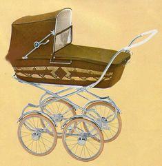 SVENSKTILLVERKADE BARNVAGNAR FRÅN 1960-TALET 1966 finns också denna vagn. Lite lägre korg, fast modellen i sig får väl räknas till de lite högre.  Skön fjädring och ytterst dekorativ med mönstret på långsidorna!  Lätt att ta sig fram med de stora hjulen.  Vävplast och celluloidhandtag.     Vikt: 16,5 kg.