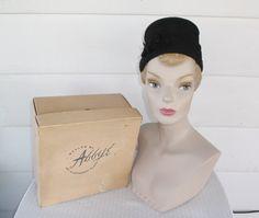 1960s Vintage Pleated Black Crepe Hat with by MyVintageHatShop