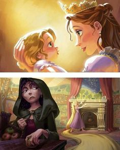 Rapunzel with her two mother figures. Disney Pixar, Deco Disney, Disney Nerd, Arte Disney, Disney Tangled, Disney Marvel, Disney Fan Art, Disney And Dreamworks, Disney Magic