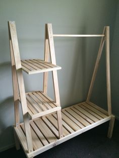 Clothes rack made from pine.