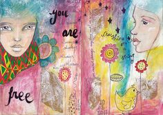 Journal Pages by Willowing...the colours the faces the shading all of it, speaks volumes to me, I adore everything about her recent works in her journal