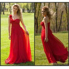 One Shoulder Chiffon Bridesmaid Dresses Handmade Flowers pst0311 – BBtrending