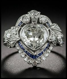 Idée et inspiration Bague Diamant : Image Description An Edwardian Diamond and Sapphire engagement ring set in platinum with a millegrain setting. Antique Rings, Antique Jewelry, Vintage Jewelry, Antique Art, Vintage Art, Silver Jewelry, Antique Gold, Art Deco Jewelry, Fine Jewelry