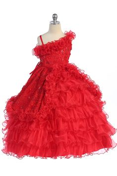 Red One Shoulder Style Organza Princess Ball Gown with Embroidery for Little Girl T5567-RD T5567-RD $121.95 on www.GirlsDressLine.Com