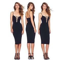 ALAIX Womens Braces Cross Chest Bandage Bodycon Midi Attractive Get together Dresses