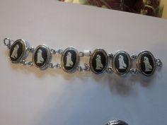 Vintage Silver Wedgwood Black Cameo Jasperware  Panel Bracelet -Signed #Wedgwood #Panel