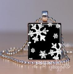 Black and White Snowflakes Necklace - Scrabble Tile Pendant with Chain