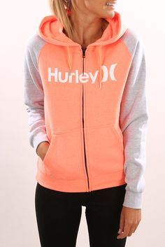 One & Only Colour Zip Fleece Heather Bright Mango