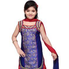 Dark Blue Art Dupion Silk and Art Silk Brocade Readymade Patiala Suit