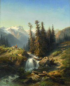 Vue Du Glacier De Blockenstock Sur Le Seelisberg Canton D uri En Suisse de Francois Diday (1802-1877, Switzerland)