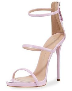 """Three-Strap 120mm Sandal by Giuseppe Zanotti. Giuseppe Zanotti d'Orsay strappy sandal. Black sandal comes in velvet; red comes in patent leather; gold comes in metallic leather. 4.8"""" covered stiletto heel. Thin strap bands open toe. Back zip eases dress. Leather lining and outsole. ... #giuseppezanotti #nudeshoes #sandals"""