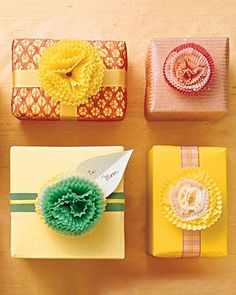 You have the gift already and realize you are out of bows and ribbon. Don't fret, raid your bakers box that has some cupcake wrappers! #wrapping