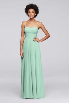 Long Chiffon Spaghetti Strap Bridesmaid Dress - Mint (Green), 14