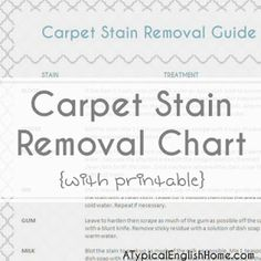 Amazing ! Printable Carpet Stain Removal Solution Guide