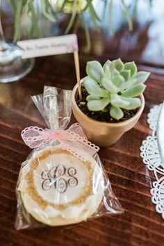 sweet succulents & monogram cookies