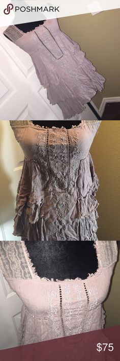 Free People boho ruffled mini Grayish purple with lots of ruffles, lace & embroidering   Very boho chic!! Pretty sure it will fit up to medium. Will fit a small Dresses Mini