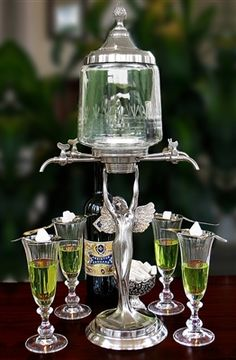 Lady Wings 4 Spout Absinthe Fountain Set Includes Glasses Spoons & Sugar Cubes
