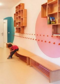 Wonderful and Colorful Shelves and Seating Benches for Kindergarten