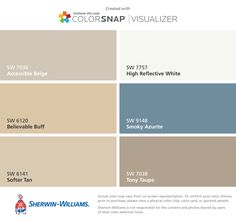 I found these colors with ColorSnap® Visualizer for iPhone by Sherwin-Williams: Lobelia (SW Perfect Periwinkle (SW Lupine (SW Balanced Beige (SW Tony Taupe (SW Distance (SW Front Door Colors, Wall Colors, House Colors, Colours, Blue Accent Walls, Tan Walls, Exterior Paint Colors, Paint Colors For Home, Urbane Bronze Sherwin Williams