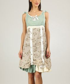 Another great find on #zulily! Green & Sand Gathered Empire-Waist Dress by Ian Mosh #zulilyfinds