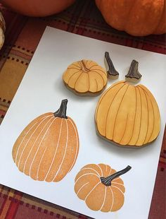 Autumn is in the air! What better time than to create pumpkin art. Includes Two pumpkins: 2 stems 2 pumpkin bodies Measurements: Larger pumpkin: tall Smaller pumpkin: 2 tall Hand carved for thick durable rubber. Perfect for many paper and fabric proje Large Pumpkin, Pumpkin Art, Stamp Printing, Screen Printing, Small Pumpkins, Stamp Carving, Fabric Stamping, Handmade Stamps, Linoprint