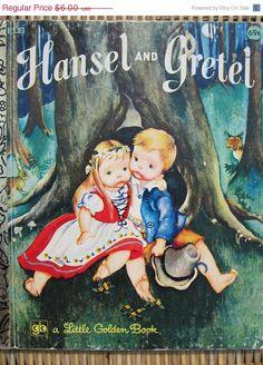 40 OFF Sale  Vintage Little Golden Book Hansel and Gretel, illustrations by Eloise Wilkin