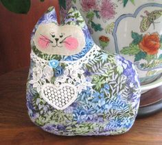 Cat Pillow Doll Cloth Doll 7 inch Blue Green and by CharlotteStyle, $12.00