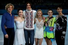 Gold medalists Charlie White and Meryl Davis of the United States, Maxim Trankov and Tatiana Volosozhar of Russia, Adelina Sotmikova of Russia and Yuzuru Hanyu of Japan pose for photographers during the Figure Skating Exhibition Gala on Day 15 of the Sochi 2014 Winter Olympics at Iceberg Skating Palace on February 22, 2014 in Sochi, Russia.