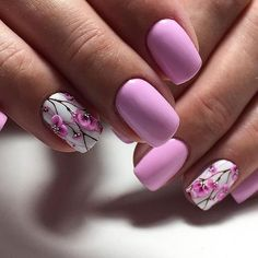 50 Beautiful Floral Nail Designs For Spring - Page 50 of 50 - Chic Hostess Trendy Nails, Fancy Nails, Cute Nails, My Nails, Orange Nail Designs, Nail Designs Spring, Nail Art Designs, Floral Nail Art, Pink Nail Art