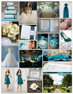 Nice inspiration board. and Katie, i love the dress on the left for you!!! An English Rose, Luxury Lifestyle Weddings - Silver and Teal Wedding