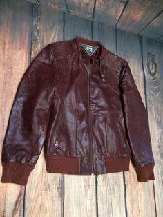 Tommy Hilfiger Sz XL Leather Men s Burgundy Motorcycle Jacket Heritage  Denim VTG 8209f9757d81
