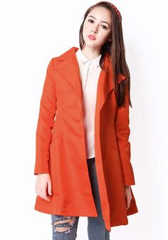 EMMA FLARE COAT IN POPPY RED