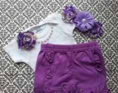 Baby Girl, Newborn Take Home Outfit, Purple Floral Headband, Ruffle Shorts, Pearl Necklace, Hospital Outfit, Shabby Chic Flowers