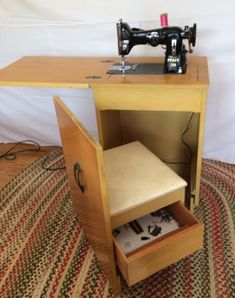 New sewing machine vintage table ideas 55 Ideas Sewing Machine For Sale, Sewing Machine Tables, Sewing Table, Space Saving Furniture, Home Decor Furniture, Coin Couture, Sewing Cabinet, Sewing Rooms, Sewing Spaces