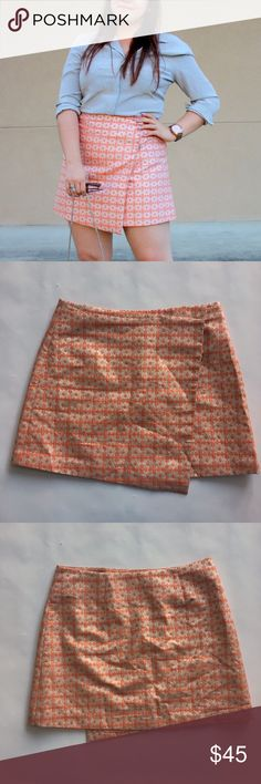 Jacquard Wrap Mini Skirt Peach and metallic silver jacquard wrap skirt with snap closure at left hip. I removed the bottom snap to accommodate my pearshape hips. 😉 worn just a few times, great condition. Please carefully review each photo before purchase as they are the best descriptors of the item. My price is firm. No trades. First come, first served. Thank you! :) ASOS Skirts Mini