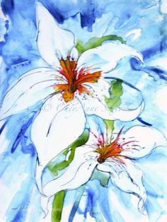Flower Art on Yupo  White Lily WaterColour  by CheyAnneSexton, $40.00