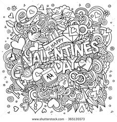 Cartoon vector hand drawn Doodle Happy Valentines Day illustration. Line art detailed design background with objects and symbols. All objects are separated