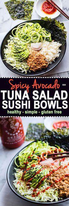 Spicy avocado tuna salad sushi bowls. A protein packed gluten free tuna salad mixed with healthy sushi ingredients, then tossed all in a bowl. #paleo friendly @Lindsay - Cotter Crunch