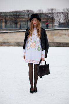 Alice in a winter wonderland   Paris Street Style - 2013 Haute Couture Parisian Street Style - Harper's BAZAAR    http://themondaine.blogspot.com/