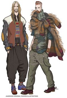 It's rare to see good detailed and colorful fashion illustrations of men's fashion. This is good.