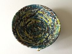 Batik Teal Brown and Green Coiled Rope Bowl,  Fabric Bowl,  Catchall Basket,  Organizer Basket by Clothstitched on Etsy