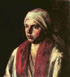 Girl with Red Kerchief 1917 Jozsef Koszta Day And Mood, Kerchief, Hanging Art, Art Reproductions, Buy Art, Oil On Canvas, Museum, Janus, Artists